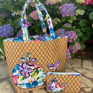 MWT Vera Bradley Whale Tote and Pouch.